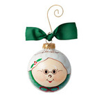 Hand Painted Mrs. Clause Glass Ornament